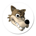 wolf smiling copy Round Car Magnet