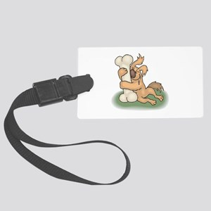 Dog hugging bone copy Large Luggage Tag