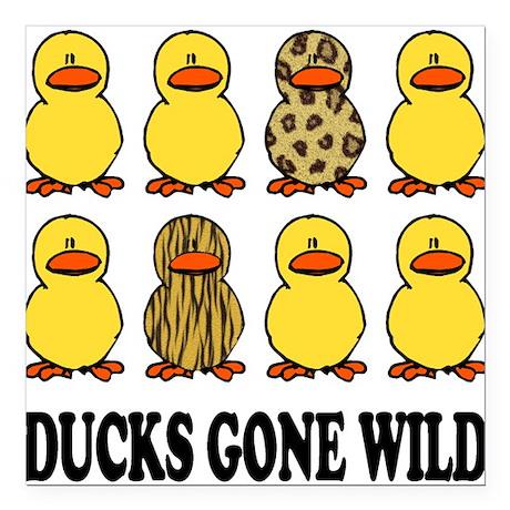 "Ducks Gone Wild Square Car Magnet 3"" x 3"""