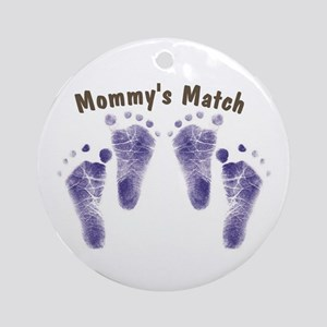 Mommys Match - Twin Boys Ornament (Round)