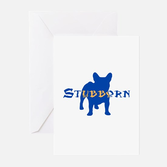 Stubborn Frenchie (blue) Greeting Cards (Package o