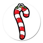 happy little candy cane Round Car Magnet