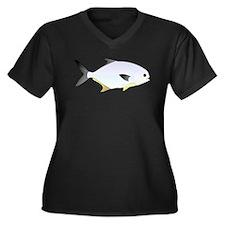 Pompano fish Women's Plus Size V-Neck Dark T-Shirt