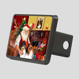 Santa's Collie pair Rectangular Hitch Cover