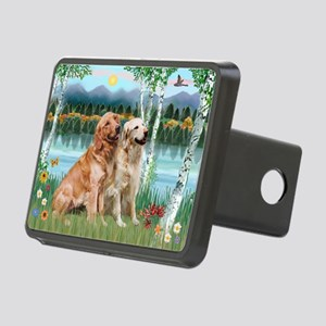 Birches / Golden Rectangular Hitch Cover