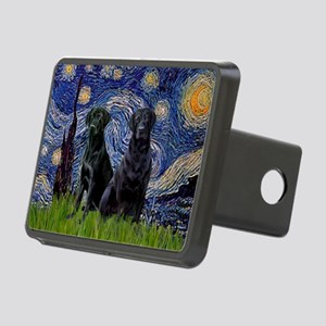 Starry Night / 2 Black Labs Rectangular Hitch Cove