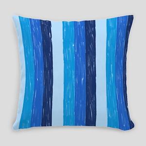 Blue Crayon Stripes Everyday Pillow