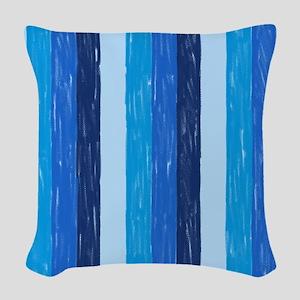 Blue Crayon Stripes Woven Throw Pillow