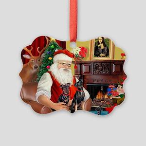 Santa's 2 Mun Pinschers Picture Ornament