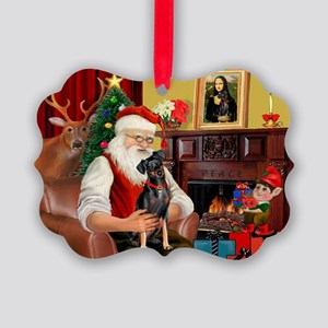 Santa'sMiniature Pinscher Picture Ornament