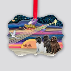 Xmas Star & 3 Newfies Picture Ornament