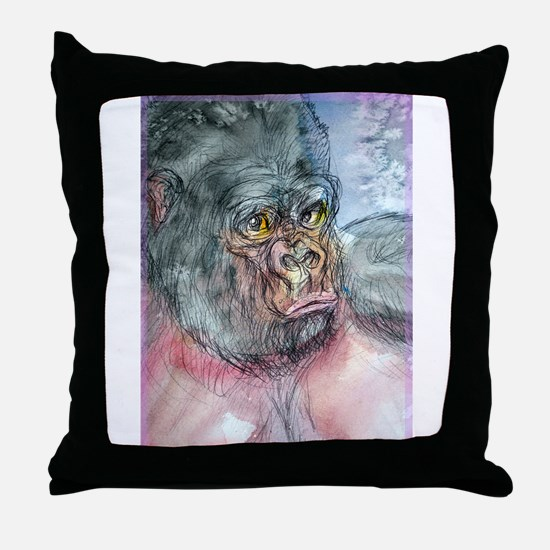 Gorilla! Wildlife art! Throw Pillow