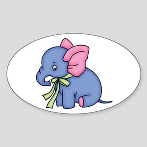 Cute Blue Elephant Oval Sticker