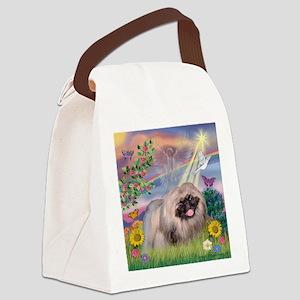 Cloud Angel & Pekingese Canvas Lunch Bag