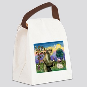 St Francis & white Peke Canvas Lunch Bag