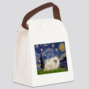 TILE-Starry-Peke-WHite4 Canvas Lunch Bag