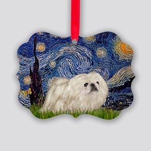 TILE-Starry-Peke-WHite4 Picture Ornament