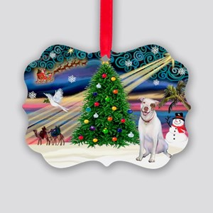 Xmas Magic & Pit Bull Picture Ornament