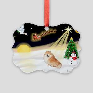 Night Flight/Pomeranian #2 Picture Ornament