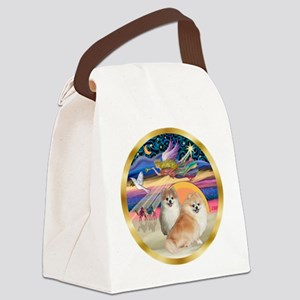 XmasStar/2 Pomeranians Canvas Lunch Bag