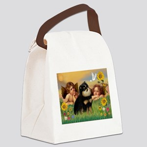 Angels / Pomeranian (b&t) Canvas Lunch Bag