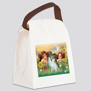 Angels/ Pomeranian(s&w) Canvas Lunch Bag