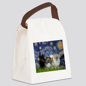 Starry/3 Pomeranians Canvas Lunch Bag