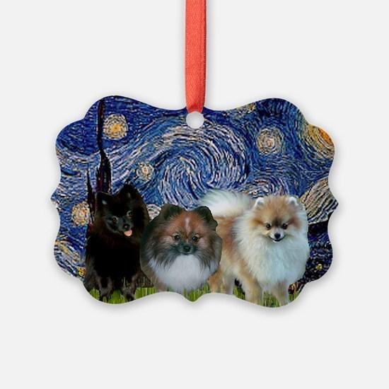 Starry/3 Pomeranians Ornament