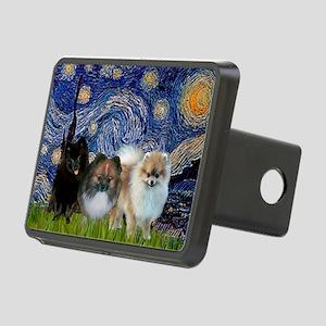 Starry/3 Pomeranians Rectangular Hitch Cover