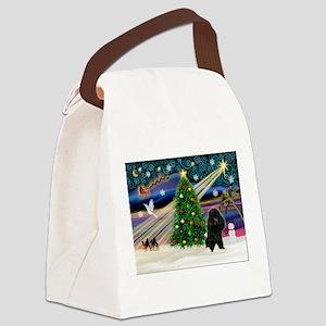 Xmas Magic-Black Poodle Canvas Lunch Bag