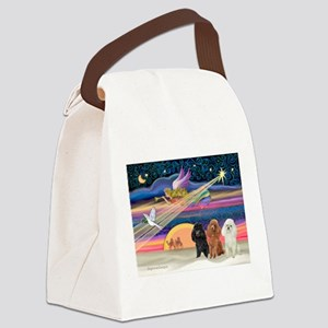 Xmas Star & Poodle trio Canvas Lunch Bag