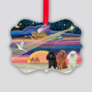 Xmas Star & Poodle trio Picture Ornament