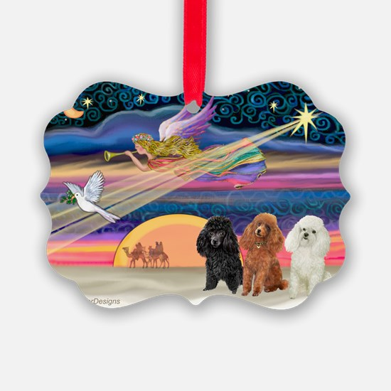 Xmas Star & Poodle trio Ornament