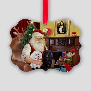 Santa's Poodle Pair 1b,1w Picture Ornament