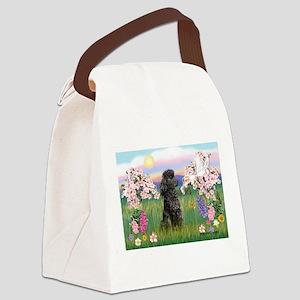 Blossoms/Poodle (miniature #2 Canvas Lunch Bag