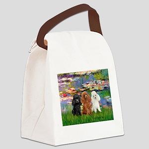 Lilies #2/3 Poodles Canvas Lunch Bag