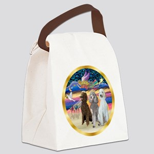 XmasStar/3 Poodles Std Canvas Lunch Bag