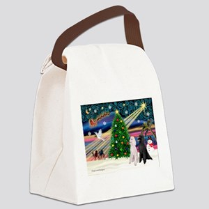 XmasMagic/Two Poodles (ST) Canvas Lunch Bag