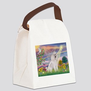 Cloud Angel White Poodle (ST) Canvas Lunch Bag