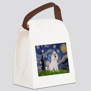 Starry Night White Poodle (ST Canvas Lunch Bag