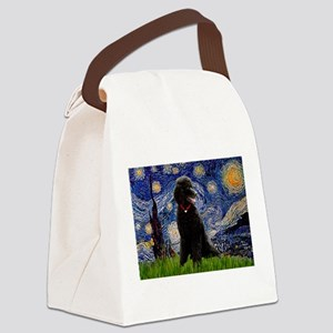 Starry Night Black Poodle (ST Canvas Lunch Bag