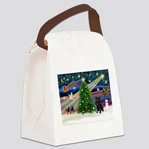 Xmas Magic & Black Pug Canvas Lunch Bag