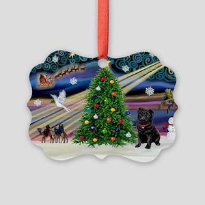 Xmas Magic & Black Pug Picture Ornament