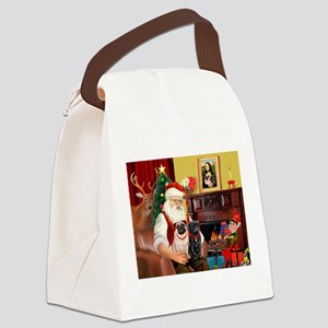 Santa's Two Pugs (P1) Canvas Lunch Bag