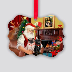 Santa's Two Pugs (P1) Picture Ornament