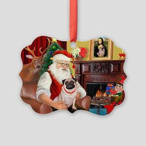 Santa's fawn Pug (#21) Picture Ornament