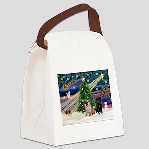 X Mas Magic & Pug Pair Canvas Lunch Bag