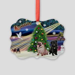 X Mas Magic & Pug Pair Picture Ornament