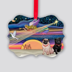 Xmas Star & 2 Pugs (P2) Picture Ornament
