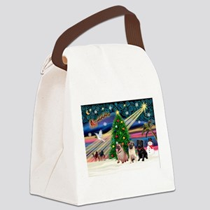 Xmas Magic & 3 Pugs 1b,2f Canvas Lunch Bag